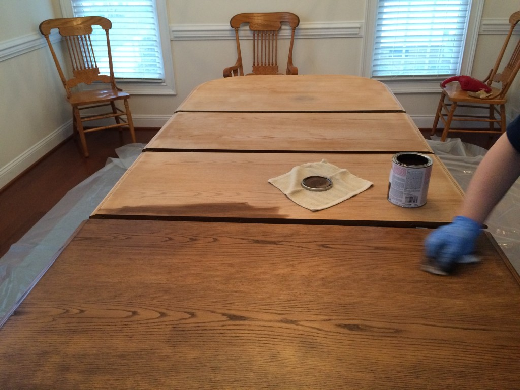 ugly oak refurb table top sanded first coat stain