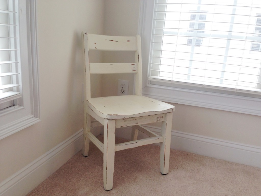 tiny white chair refurb finished product