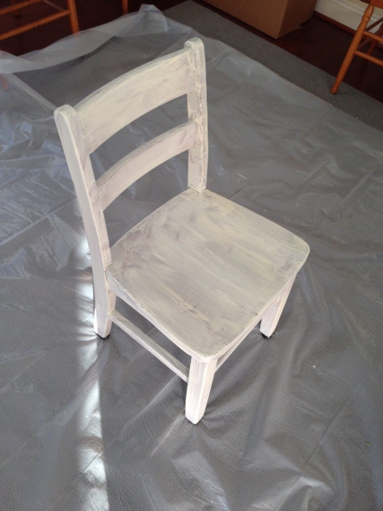 first coat white paint tiny chair refurb