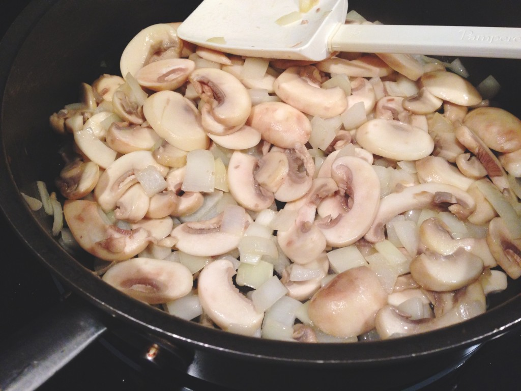 button mushrooms yellow onion butter olive oil saute translucent salt pepper