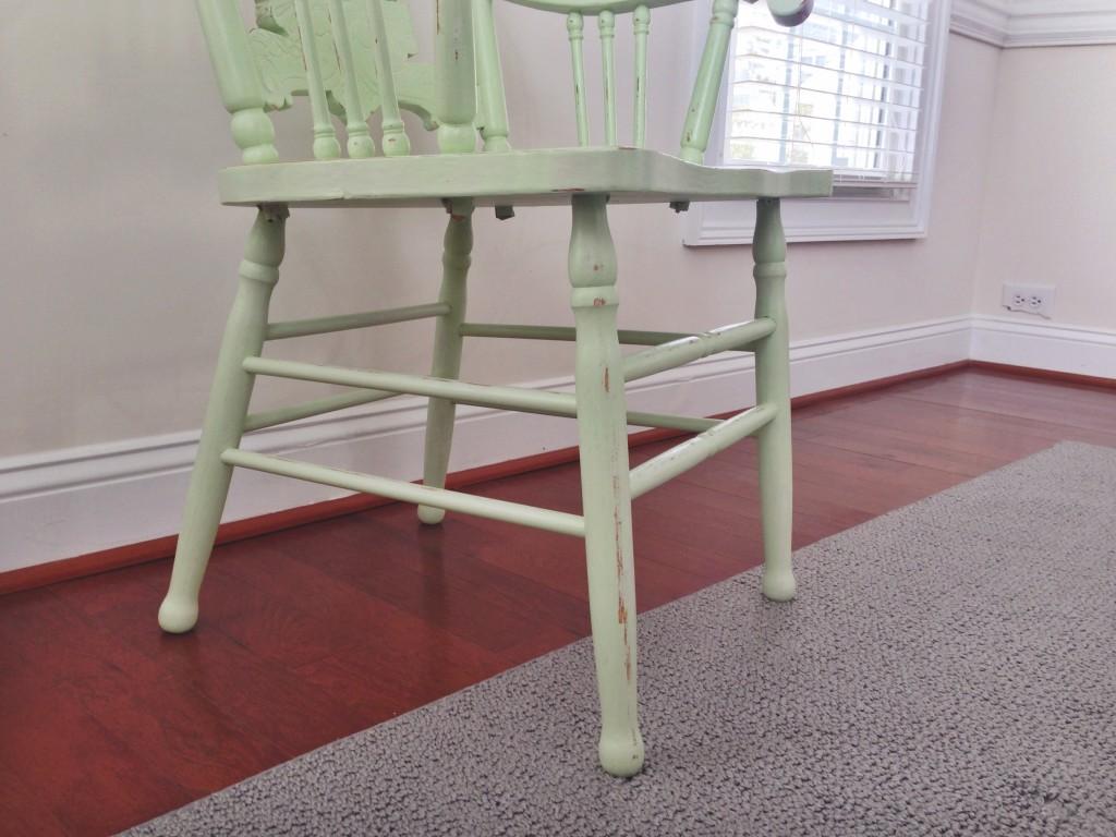 ugly oak refurb antique captains chair primer paint sealer distressed detail legs up close side view