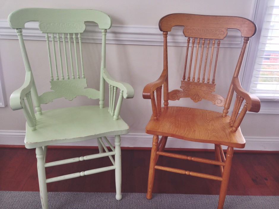 ugly oak refurb antique captains chairs before and after bulls eye primer valspar latex pain rustoleum polyurethane sealer distressed finished product