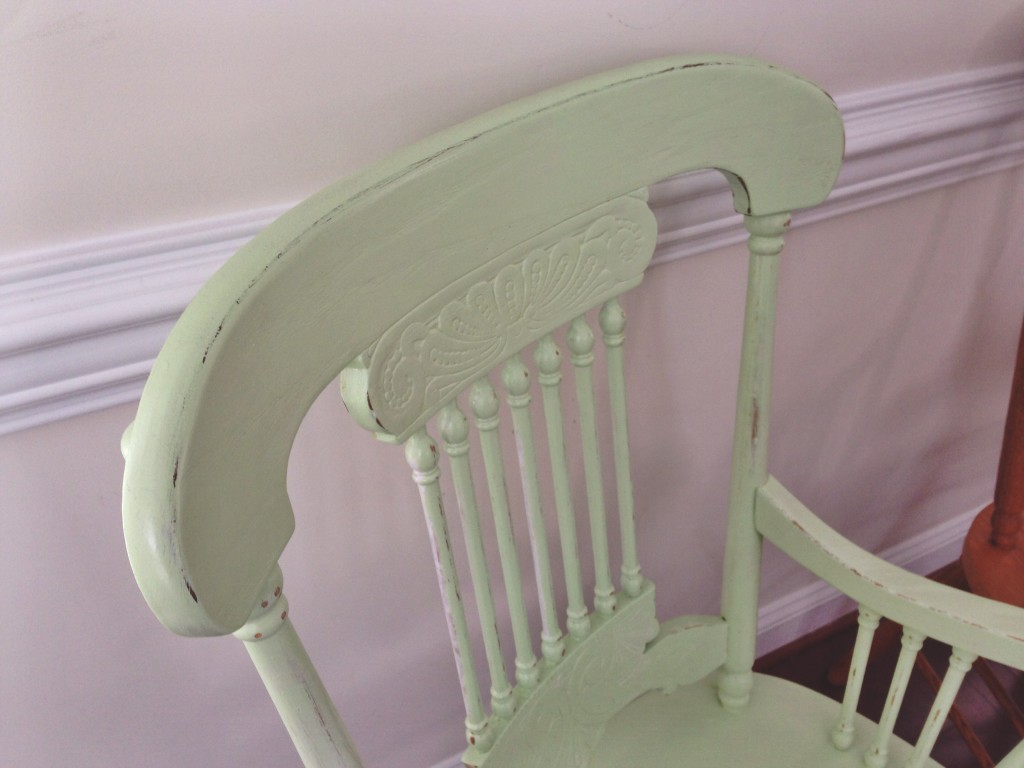 ugly oak refurb dining chair primer painted distressed sealed finished product antique captains chair