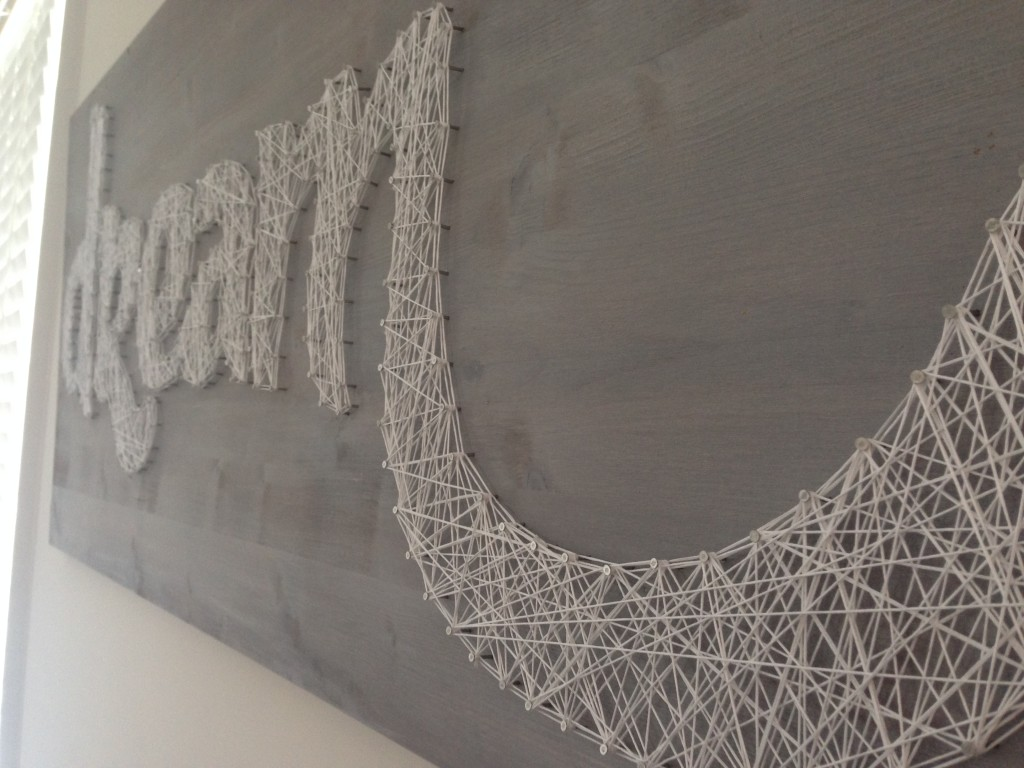 dream board diy wall art white washed wood nails embroidery floss template traced detail work
