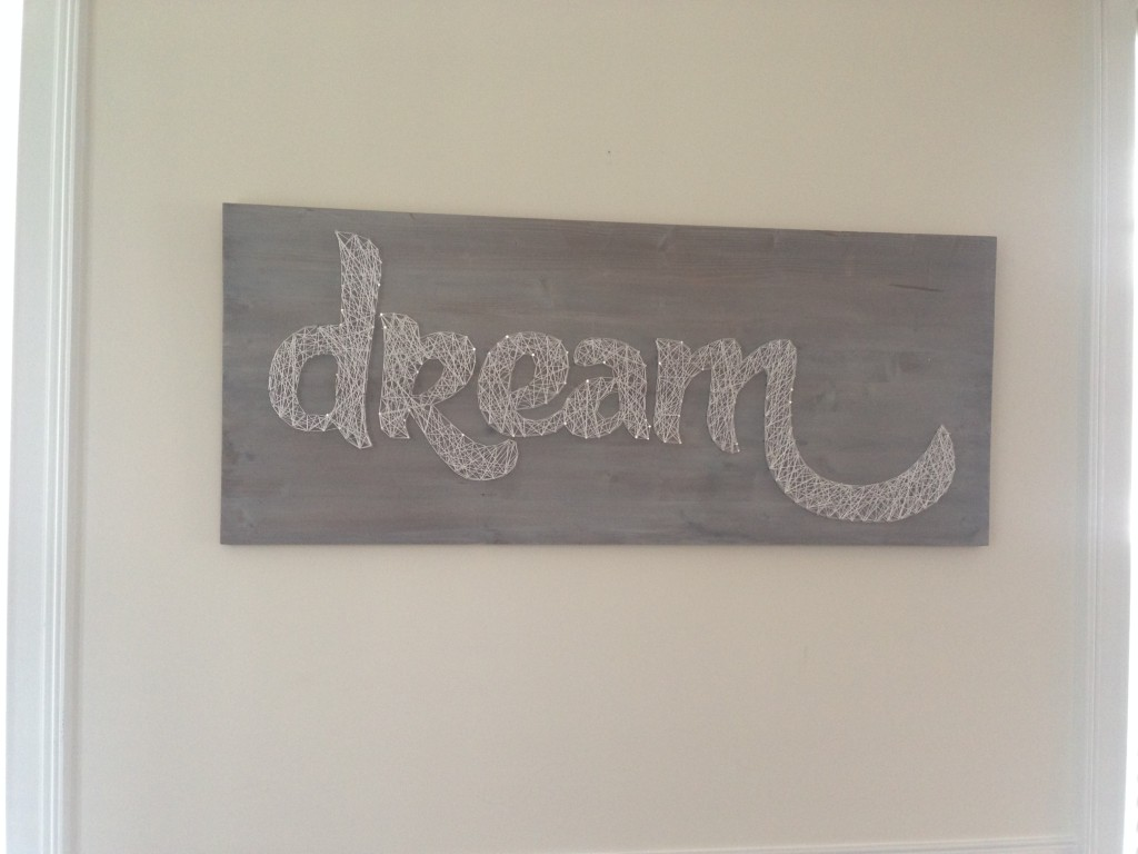 dream board diy wall art white washed wood nails embroidery floss template printout traced