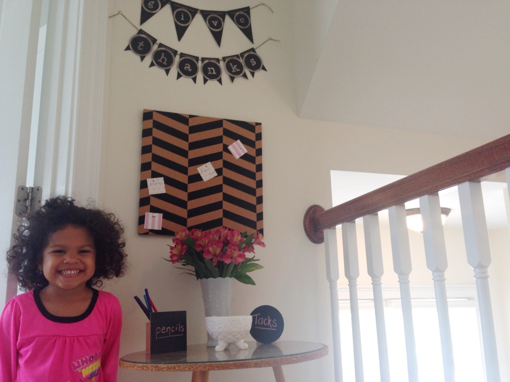 diy thankful board project chevron cork board teach toddler thankfulness milk glass fresh flowers chalkboard pencil holder awkward space pennant banner cricut expression2