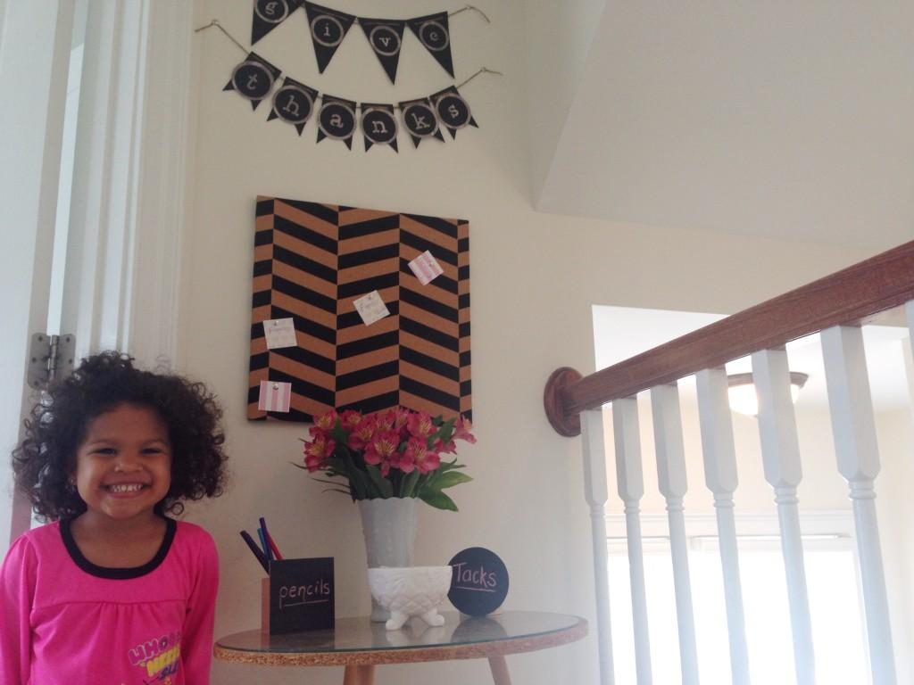diy thankful board project chevron cork board teach toddler thankfulness milk glass fresh flowers chalkboard pencil holder awkward space pennant banner cricut expression2