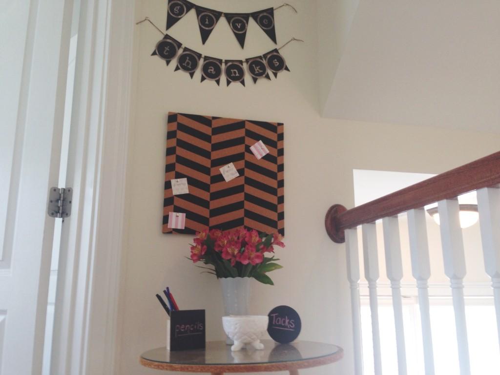 diy thanksgiving board teach toddler cork board milk glass fresh flowers chevron design