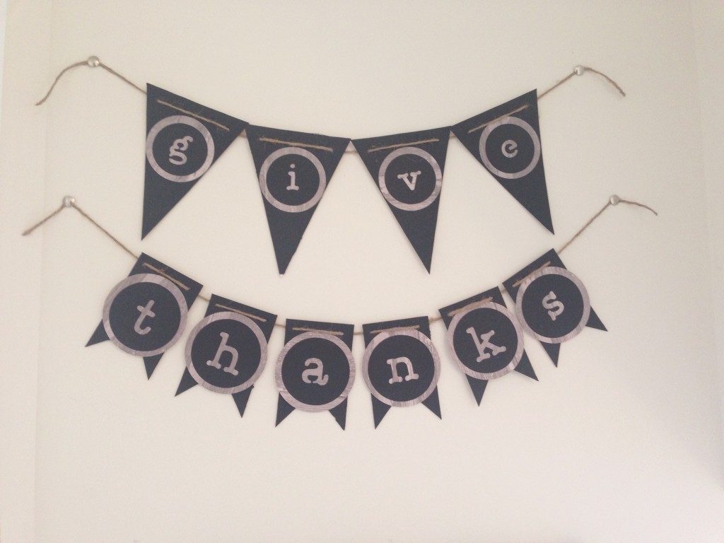 diy thankful board project chevron cork board milk glass fresh flowers pennant banner cricut expression2